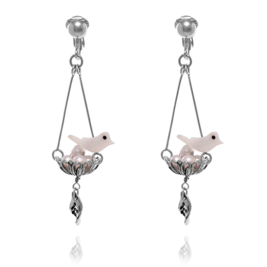 Lilac Rose Bird Nest Earrings