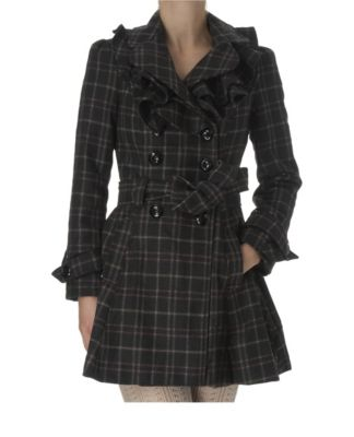 New Look Checked Frill Coat